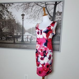 NWT NY&CO Sz 14 Summer floral red pink dress